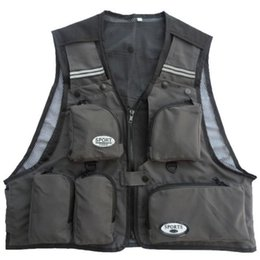 Wholesale Men Travel Vest - Wholesale-Men Male Vest Multi-Pockets Mesh Summer Travel Outdoor Fly Fishing Hunting Photograph Men Clothes Casual Vest Waistcoats Jacket