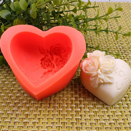 Wholesale Heart Flower Soap Molds - Heart shape 3D Silicone Rose flower Cake mould chocolate candy Molds Soap Ice rose cake mould for Wedding Party valentine's day gift
