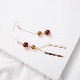 Wholesale Jewellery Ear Cuffs Gold - Retro brown crystal geometric asymmetric clip earrings for women, earings gold color ear cuff jewellery pendientes femininos