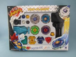 Wholesale Spin Top Launchers - 4pcs set Beyblade Arena Spinning Top Metal Fight Beyblad Metal Fusion Children Gifts Toys 4D Launcher Grip Set Free Shipping