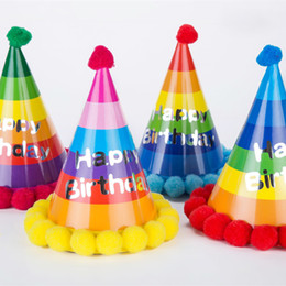 Wholesale Happy Caps Wholesale - Children Birthday Party Hat Multi Colors Baby Boys Girls Birthday Caps Happy Birthday for Sale SD447