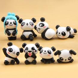 Wholesale panda accessories - 8pc Panda Miniature Animal Fairy Garden Home Houses Decoration Minecraft Micro Landscaping Decor Diy Accessories