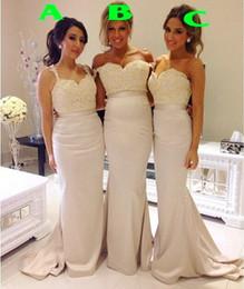 Wholesale Column Style Lace Wedding Dress - Elegant 2016 Vestidos De Noiva Long Bridesmaids Dresses 3 styles Satin Sheath Wedding Party Gowns for Brides of Honor Plus Size Evening Gown