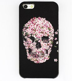Wholesale Iphone 5s Cases Skull - Wholesale Black Floral Skull Painted style Hard Plastic Mobile Phone Case Cover For iPhone 4 4S 5 5S 5C 6 6 Plus