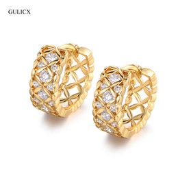 Wholesale Earing Piercing - Wholesale- GULICX Brand 2017 Hollow Crystal Piercing Cross Hoop Earring for Women White Gold-color Earing Cubic Zircon Jewelry E215