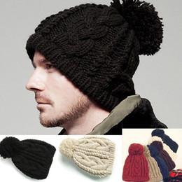 grânulos de malha de cabo por atacado Desconto Atacado-Men Cable Knit Beanie Mulheres CHUNKY Crochet Pom Ski Hat
