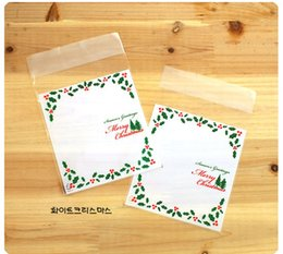Wholesale Green Cookies - 500 PCS lot plastic Christmas gift bag Bake cookies Wedding gift packaging Santa Claus Christmas decoration (include bag only) TY1620
