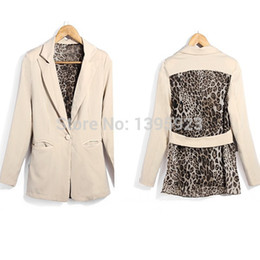 Wholesale Womens Lapel Casual Suits Blazer - Fashion Womens 2015 Autumn Summer Casual Leopard Lapel Chiffon Suit Blazer Slim Outwear Coat Chiffon Clothing