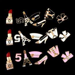 decorações diy do telefone de pilha Desconto Atacado-1 Set / 7 Pcs Alloy Mobile Phone Stickers Telefone Celular DIY Styling Decoração Sticker Phone Decor Stickers Set