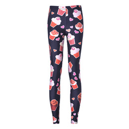Wholesale Cream Leggings - Fashion Women Leggings Shinng Galaxy Leggings Ice cream Casual women Pants Good elastic Girls yoga Capris