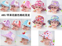 Wholesale Boy Beach Bucket Hats - Children's Caps Hats fashion visor ball cap Bucket hats kids girl boy summer beach sunhat cartoon cap sunbonnet many styles