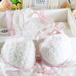 Wholesale Beauty Pink - Wholesale-2015 new Japanese fashion sexy front buckle beauty back Rose push up cute girls underwear bras set PINK