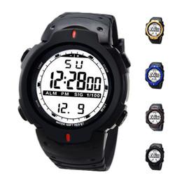 Wholesale Led Light Belt Buckle - S5Q Men Waterproof Rubber Outdoor LED Back Light Sports Date Digital Wrist Watch AAAFAY