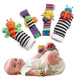 Wholesale Gardening Set Toy - 20pcs lot Rattle Baby Toys High Contrast Garden Bug Wrist Rattle + Foot Socks 20pcs a set Colorful H00862