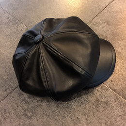 Wholesale Leather Berets - PU Baker Beret Flat cap newsboy cabble gatsby golf hats for men and women 4 colors free shipping