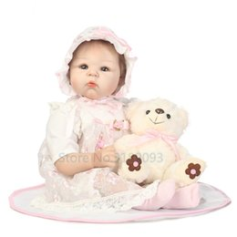 Wholesale Silicone Inflatable Girl - Wholesale- New 55cm Adorable Cute Baby Reborn Doll Silicone Reborn Doll Realistic Newborn Baby Girl Lifelike Baby Alive Dolls Playmate
