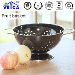 Wholesale Stainless Steel Colander Handle - Stainless Steel Black Fruit Colander Bowl Strainer With Handles Free Shipping