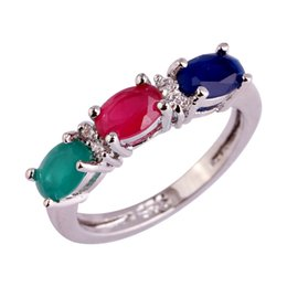 Wholesale Emerald Cut Ruby - Wholesale Charming Women Jewelry Oval Cut Ruby Sapphire Emerald White Topaz Silver Ring Size 6 7 8 9 10 11 12 Free Shipping