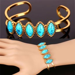 Wholesale Turquoise Religious Jewelry - MGC Turkey Stone Turquoise Cuff Bracelets 18K Real Gold Platinum Plated For Women Fashion Jewelry Boho Bangles H1116
