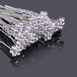 Ornamento de la flor del pelo nupcial online-Joyería de moda Mini Clear Flower Crystal Diamond Hair Pins Boda Nupcial Accesorios para el Cabello Ornamento Prom Hairdress