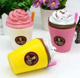 Wholesale ice straws - 11*7cm Squishy Ice Cream Cup Coffee Cup Squishy Toys Slow Rising Cute Cream Scented Funny Ice Cream Straw Cup Squishy KKA3515