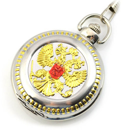 Wholesale Antique Tags - free shipping 2017 new Russian double-headed bird emblem retro golden pocket watch quartz flip male elderly lady watches antique gift