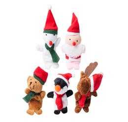 Wholesale Wholesale Santa Snowman Dolls - Cartoon Christmas Santa Claus Finger Toys Puppet Plush Toy Snowman Bear Dolls For Kids Baby Children Gift 5Pcs set Free DHL Factory Price