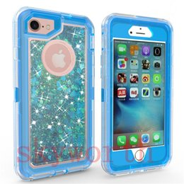 Wholesale wholesale defender cases - For iPhone X 8 7 Plus 6S Samsung Galaxy Note8 S9 S8 Glitter Bling Liquid Quicksand Crystal Robot Case Defender Rugged Hybrid Cover