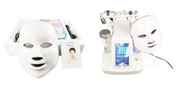 Wholesale Ultrasonic Facial Home - 7 in 1 hydra facial water dermabrasion ultrasonic RF oxygen spray gun skin deep cleansing 7 colors LED mask spa home use beauty machine