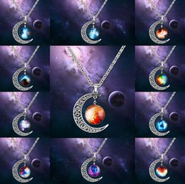 Wholesale Necklace Moon Men - 12 Designs Crescent Starry Moon Galactic Universe Spacer Round Cabochon Pendant Statement Necklace Christmas Gift For Men Women