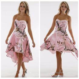 Wholesale Camouflage Dresses Plus Size - Sweetheart Pink Camo Short Bridesmaid Dresses Satin Camouflage Vestidos De Bridesmaid Junior Honor Of Maid Custom Plus Size Lace Up Back