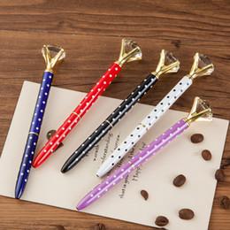 2019 niñas bolígrafo 20 unids Kawaii Crystal Ball Bolígrafos Ballpen Fashion Dot Girl 19 quilates Grandes Diamantes Bolígrafos para Papelería Escolar suministros niñas bolígrafo baratos