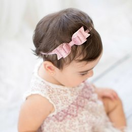 """Wholesale Fine Boutique - Kids Baby Boutique Hair Bow Headbands 3.5"""" Glitter Bow Hair Accessories for Girls Infant Fine Elastic Hairbands Childrens Birthday Gift"""