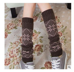 Wholesale Long Boot Cuffs - Christmas Socks Women Leg Warmer Elk Snowflake Knitted Long Boot Socks Topper Leg Warmers Women Christmas Gift Toppers Cuffs Free Shipping