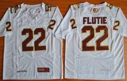 Camisetas de fútbol auténticas online-Vintage para hombre Doug Flutie 22 Fenway Evento Rendimiento auténtica Escuela de Fútbol jerseys Doug Flutie blanca Jersey cosida