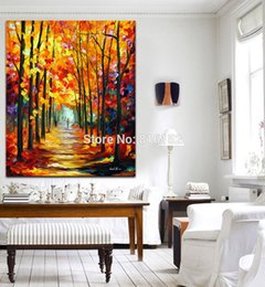 Wholesale Canvas Oil Painting Landscape Forest - Palette Knife Oil Painting Stroll in Fall Forest Red Alley Art Picture Printed on Canvas for Home Office Hotel Wall Decor