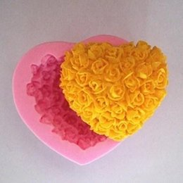 Wholesale Heart Flower Soap Molds - 3D Silicone Rose flower Cake molds heart shaped chocolate candy Molds Soap Ice cake molds baking molds for valentine's day gifts