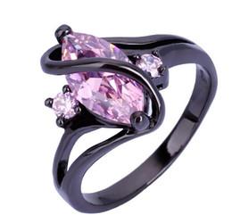 2019 gioielli in oro nero riempito 6 7 8 9 Size Black Gold Filled 10KT Rosa zaffiro Anelli per le donne Anello regalo della signora Fashion Wedding Jewelry MN gioielli in oro nero riempito economici