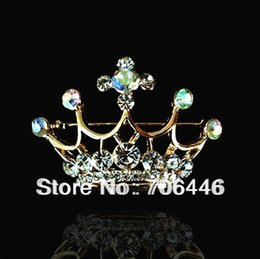 "Diamant de broche de diadème à vendre-1.7 ""Or Tone Clear et AB diamant strass Diamante Tiara Couronne Pageant Broche"