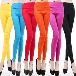 Wholesale Tight Pants White Color - Candy color ankle length trousers women's tight fitting white pencil pants slim thin solid color formal pants women jeans SMT15