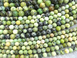 Wholesale Beads Connectors - 4 6 8 10 12 14mm full strand genuine chrysoprase beads round ball green olive connector beads