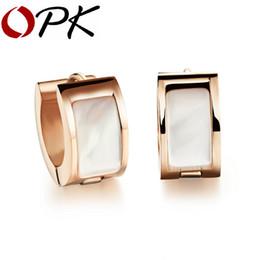 Wholesale opk jewelry - Wholesale- OPK Vintage Woman Hoop Earrings Stainless Steel Women Gift Sale Fashion Shell Jewelry Fancy Rose Gold Gold Earrings 288