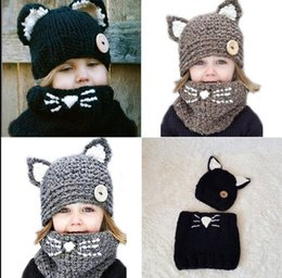 Wholesale crochet cat ears - Baby Toddler Winter Cat ears Warm Hat Scarf SET Knitted Cap Kids Kids Winter hat Crochet Hat KKA3456