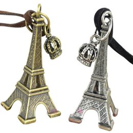 Wholesale Eiffel Tower Sweaters - Collares Eiffel Tower Crown Leather Necklaces High-end Long Sweater Chain Pendants Jewelry Charm Necklace Mix Copper Silver 2colors