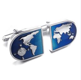 Wholesale Blue Shirt Cufflinks - 1 Pair Rhodium Plated Mens World Map Shirts Cufflinks Wedding Color Blue Silver