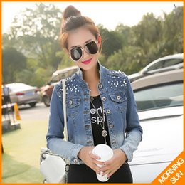 Wholesale Korean Jeans Jacket - Wholesale- 2017 korean style long sleeve pocket pearls metal buttons slim winter denim short jacket female wild tops jeans for women #5011