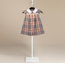 Wholesale Puff Shorts - Summer Baby Girl Plaid Dresses Girls Princess Puff Sleeve Dress Infant Baby Cotton Clothes Kids Summer Dress Children Clothing