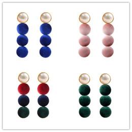 Wholesale Earring Stitch - Fashion Korean 4 colors Dangle lovely Pompon stitching long earrings imitation pearl +velvet earrings for women Valentine's Day present