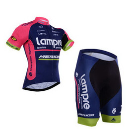 Wholesale merida pro team cycling jersey - Wholesale-2015 LAMPRE MERIDA PRO TEAM Ropa Ciclismo Short Sleeve Cycling Jersey Bike Bicycle Wear + Shorts Size XS-4XL With GEL Pad