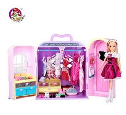 Wholesale Princess Wardrobe - Wholesale-2015 new,hot DIY Doll dream wardrobe with gift box , girl toys little princess ,birthday gift toys